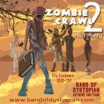 scary zombie on orange sky background